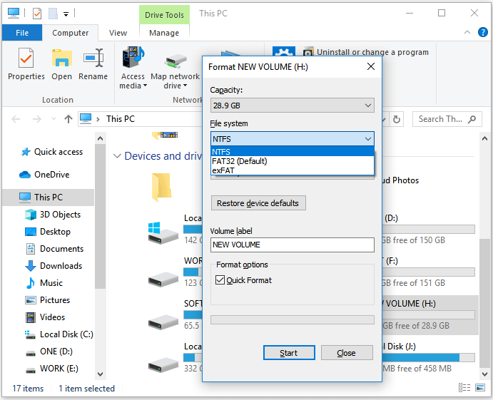 Format hard drive with file explorer.