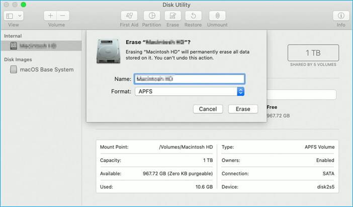 تنسيق ssd على نظام التشغيل mac