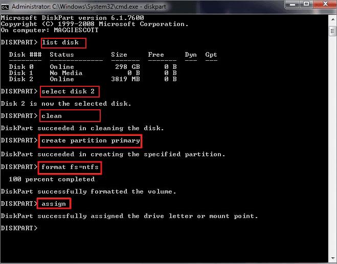 إصلاح مشكلة حجم محرك أقراص USB غير صحيح باستخدام cmd