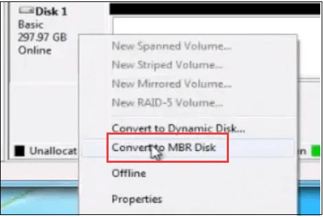 تحويل gpt إلى mbr diskpart