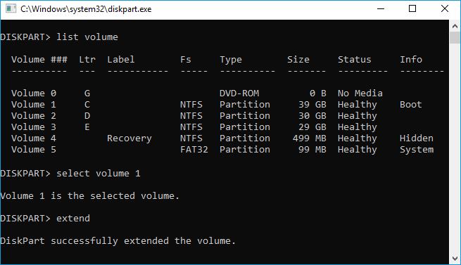 تمديد محرك أقراص Windows 8 C.