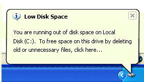 Windows XP c drive is out of space