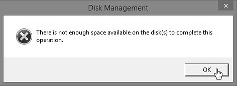 there is not enough space on the disk to complete this operation