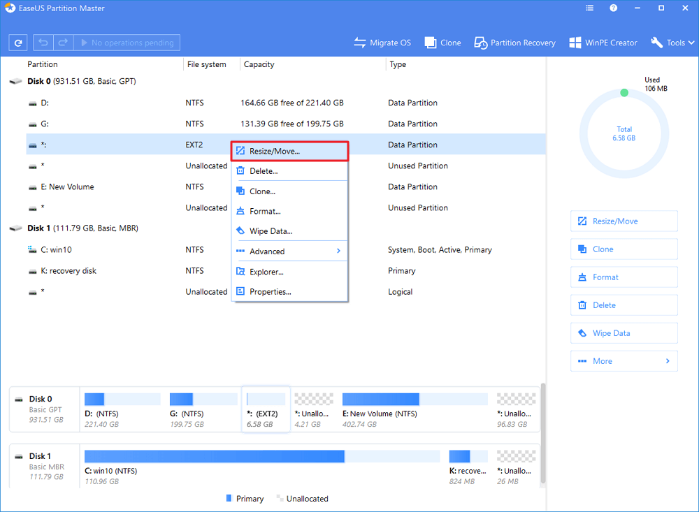 select the ext partition