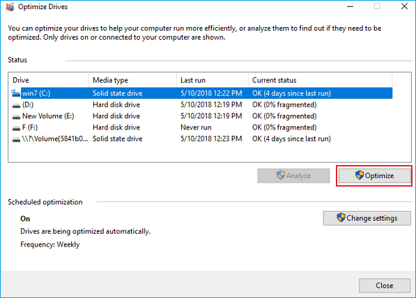 optimize the disk with disk defragmenter