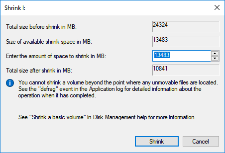Shrink partition to leave unallocated space.