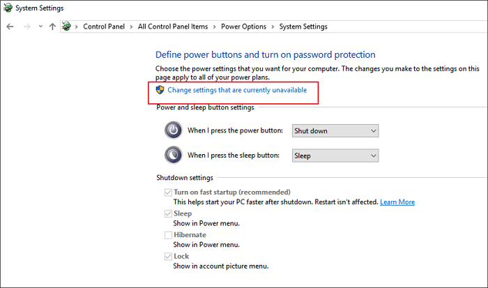 Change settings to enable fast startup in Windows.