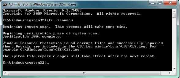 Fix hard disk problem with system file checher.