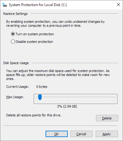 reduce system restore disk space usage in system protection settings
