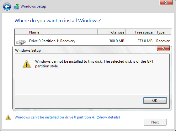 Windows Cannot be installed on this disk. The selected disk is of the GPT partition style.