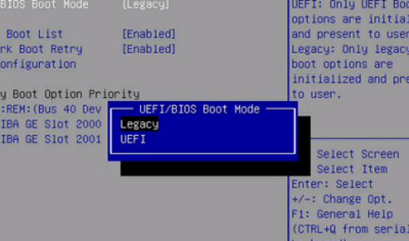 uefi/bios boot mode on a computer