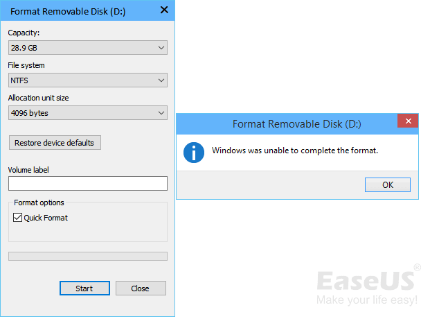 Fix 'Can't Format USB Flash Drive' Error and Restore It to Full Size