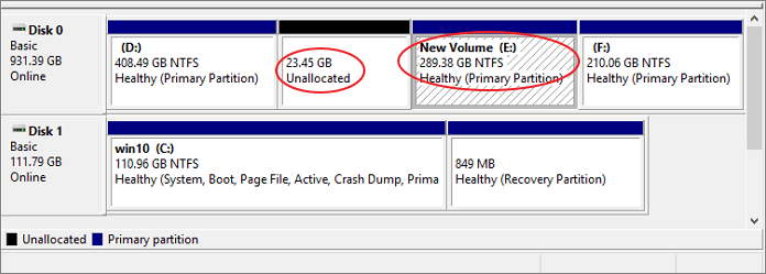 unallocated space is not right behind the drive