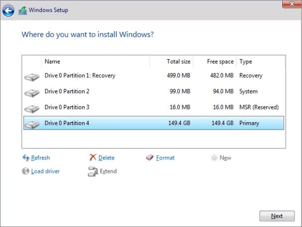 تهيئة محرك الأقراص C باستخدام إعداد Windows