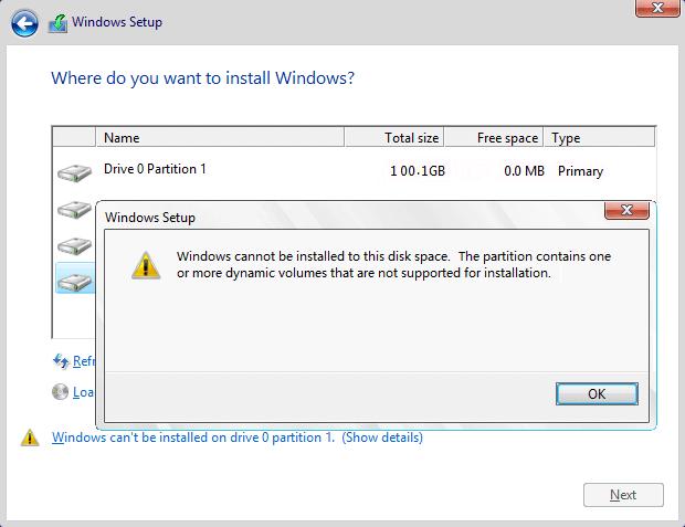 لا يمكن تثبيت Windows على القرص 0 القسم 1