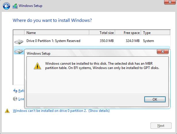 لا يمكن تثبيت Windows على هذا القرص. يحتوي القرص المحدد على جدول أقسام MBR.