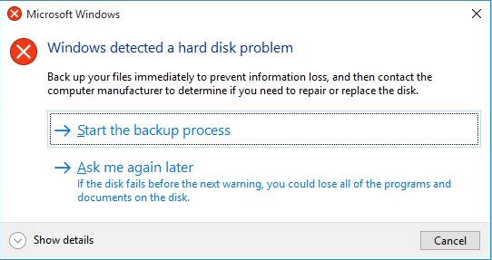 Windows detected a hard disk problem.