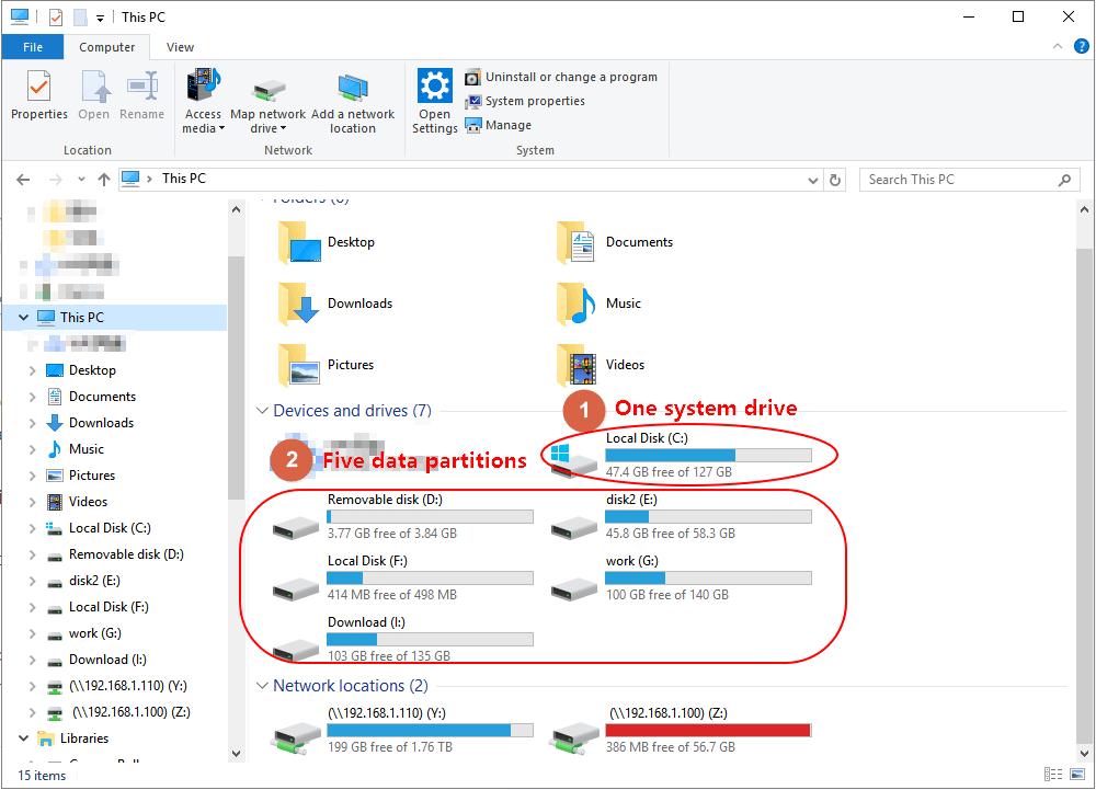 مسح القرص الصلب دون حذف مثال windows