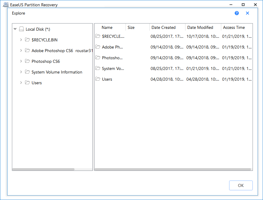 Select found partition to restore.