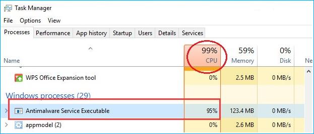 alto uso de disco de Antimalware Service Executable.