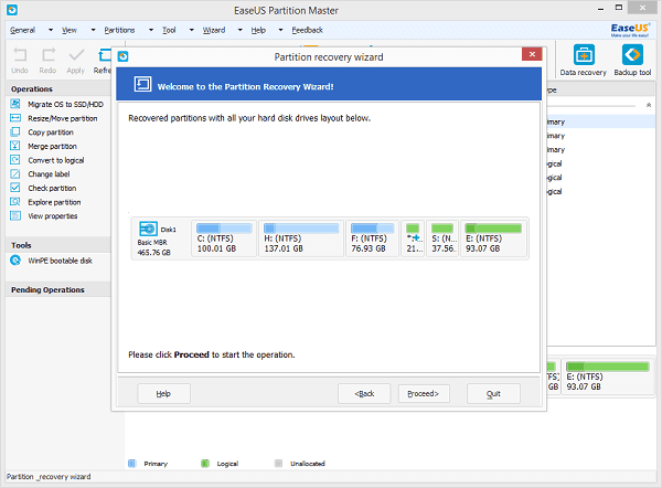 EaseUS Partition Master restores partition to help partition unallocated SD card.