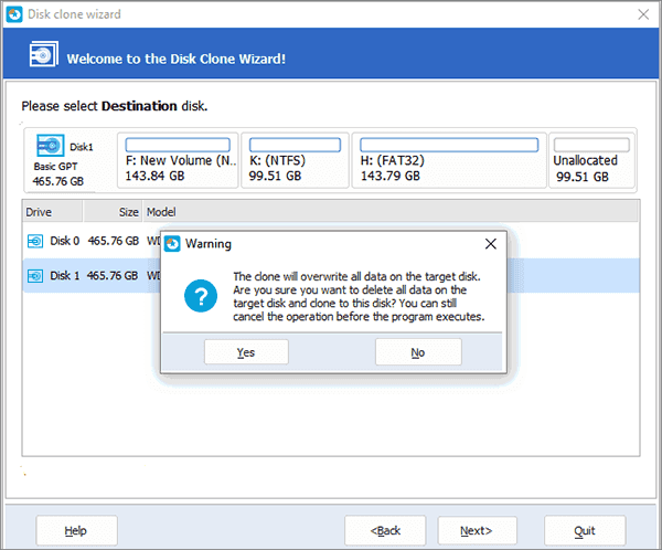 delete all partitions on destination disk