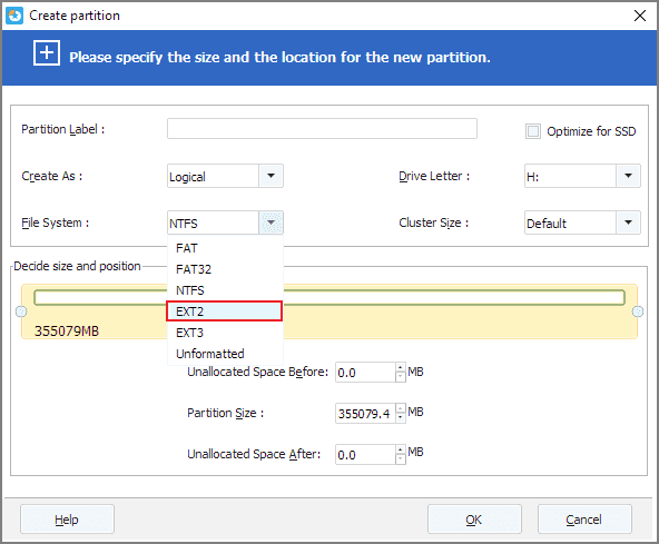 Create ext2/ext3 partition
