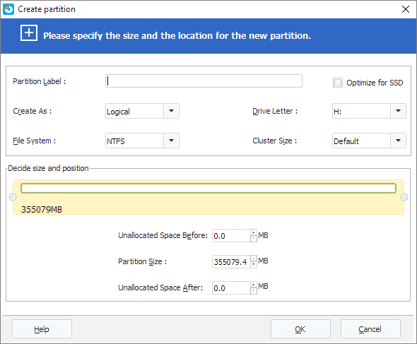 Set up  to the new partition created on unallocated disk space