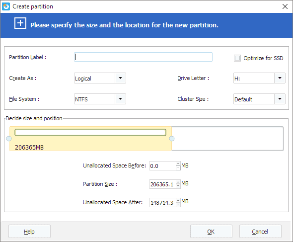 customize the new partition in size and partition label