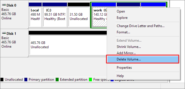 Delete partitions with Disk Management.