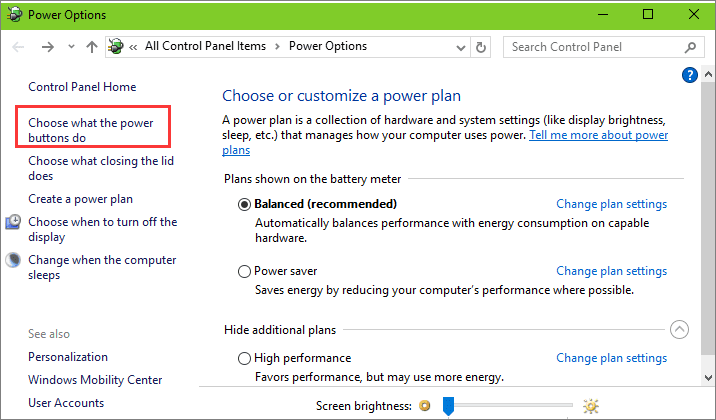 choose what the power button does to disable fast startup