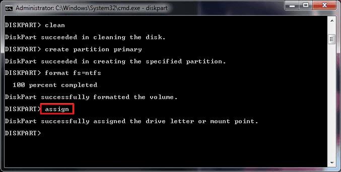 tapez assign au format disque dur avec invite de commande