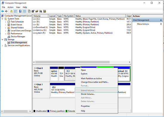 extend volume is greyed out in disk management