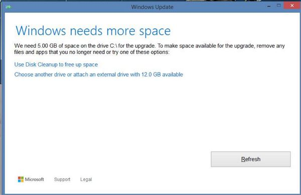 Windows needs more space error during Windows 10 upgrade