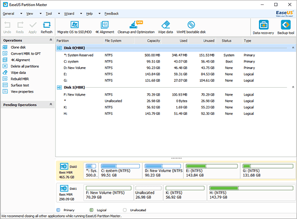 Free partition manager - EaseUS Partition Master Free