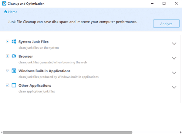 Clean up junk files in Windows 10/8/7.