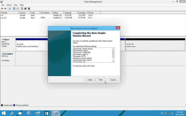 Partition hard drive Windows 10 with disk management.