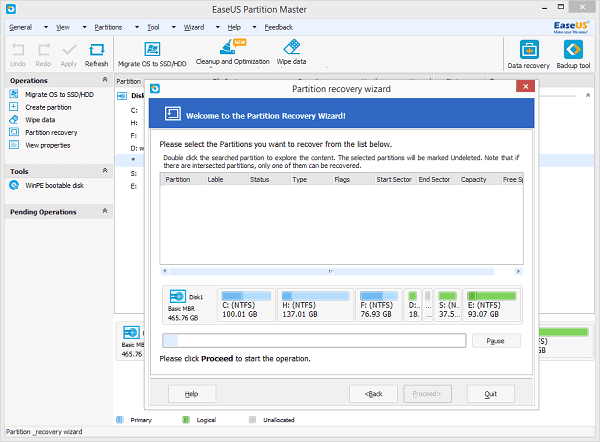 partition recovery инструкция easeus