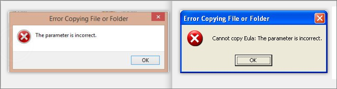 Cannot copy files - The parameter is incorrect error