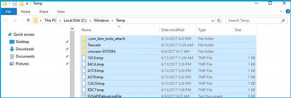 sélectionnez les fichiers temporaires et supprimez-les