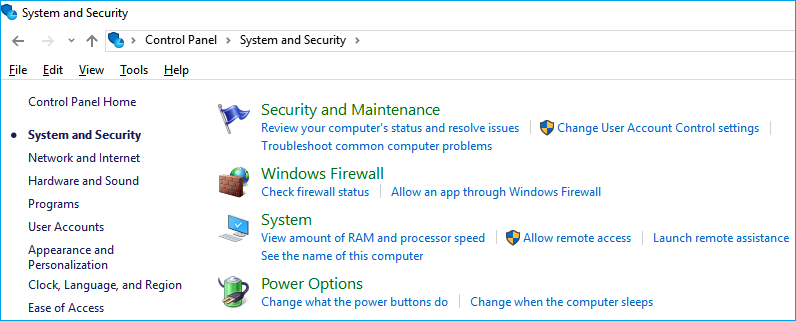 open system and maintenance in windows 10