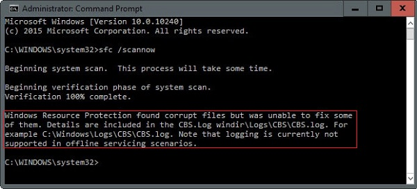 sfc/scannow found corrupt files but was unable to fix some of them