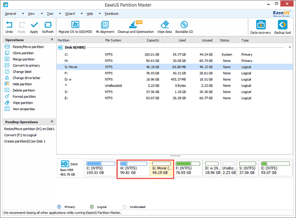 Create more partitions with the unallocated space