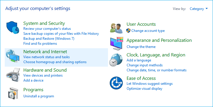 open system and security in windows 10