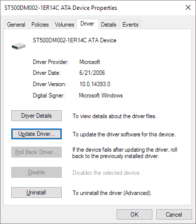 update sd card driver from device manager in windows 10