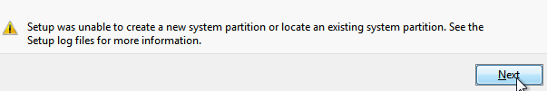 we couldn't create a new partition or locate an existing one error