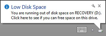 you are running out of disk space on recovery d