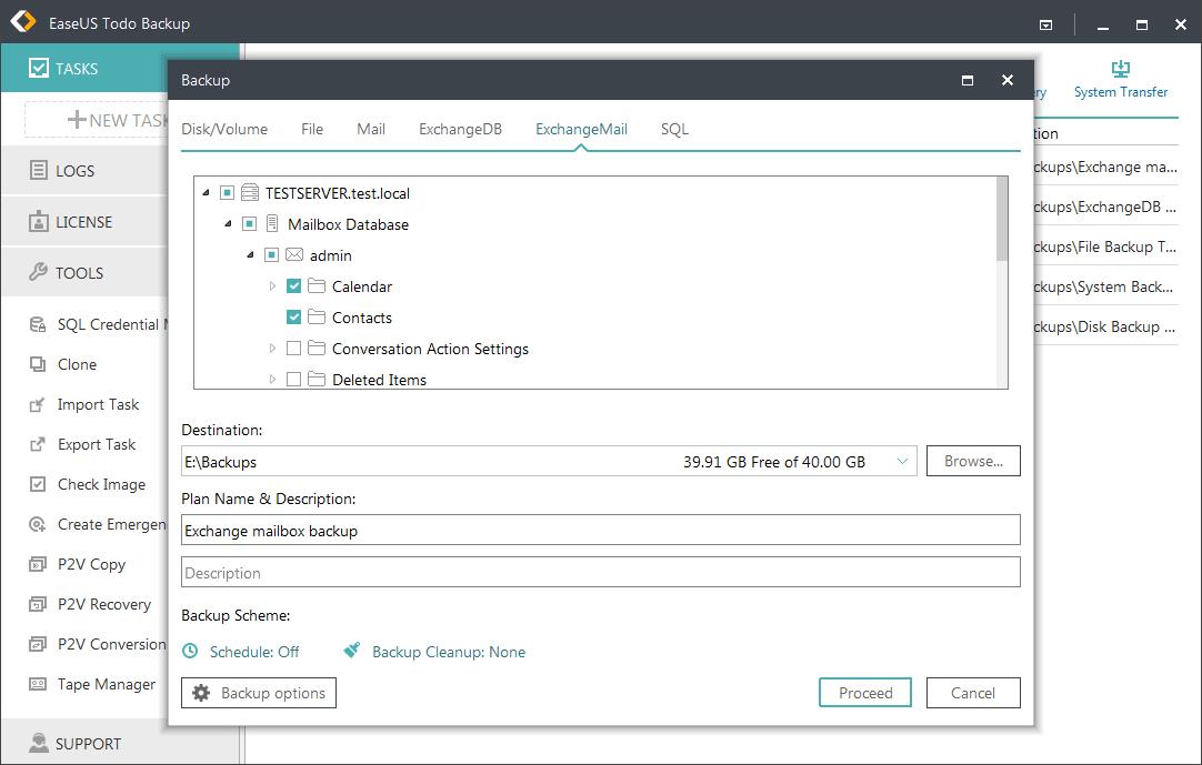 Exchange backup with EaseUS Todo Backup