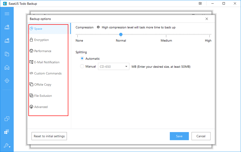 Set backup options to auto-backup network shared data.
