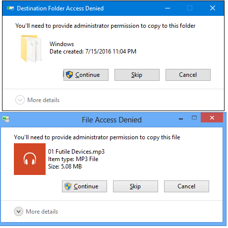 Fix 'You'll need to provide admin permission to copy files
